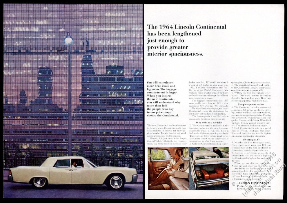 1964 lincoln continental car 3 color photo vintage print ad cad picclick ca. Black Bedroom Furniture Sets. Home Design Ideas