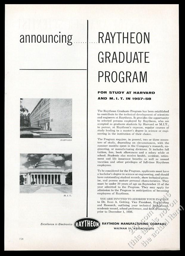 1956 Raytheon Graduate Program Harvard MIT photo vintage print ad | eBay