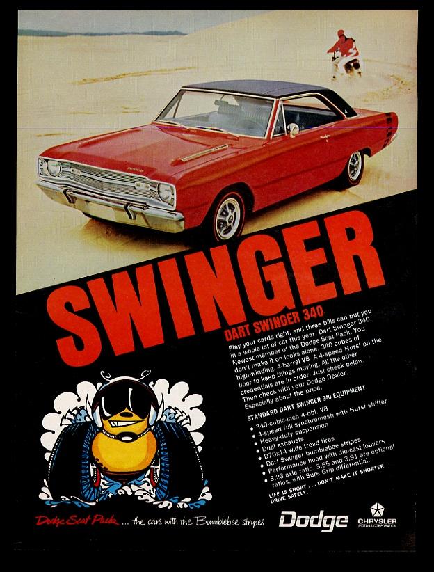 1969 Dodge Dart Swinger 340 red car photo vintage print ad   eBay