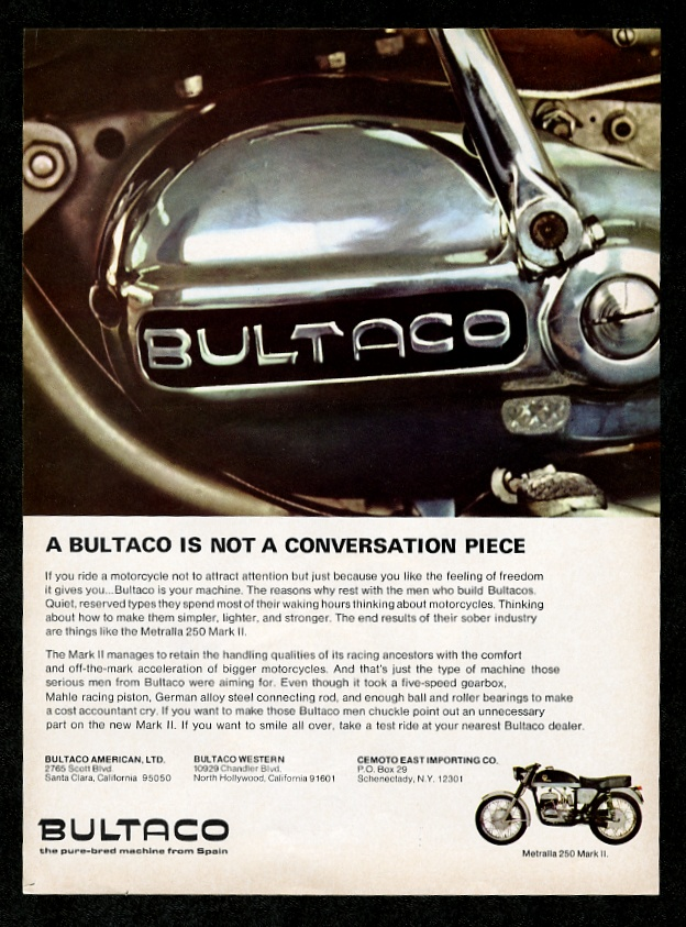 1967 Bultaco Metralla 250 Mark II Motorcycle Vintage Print Advertisement