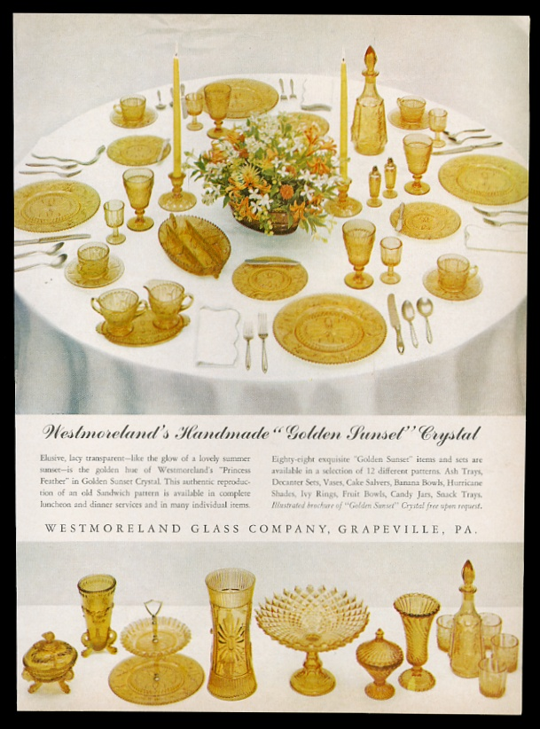 Details about 1962 Westmoreland Golden Sunset crystal glass plate etc photo  vintage print ad