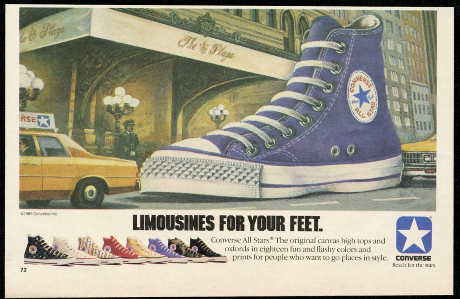 138ac1a4de29 Converse All-Star purple hi-top shoe The Plaza Hotel NYC vintage print  advertisement
