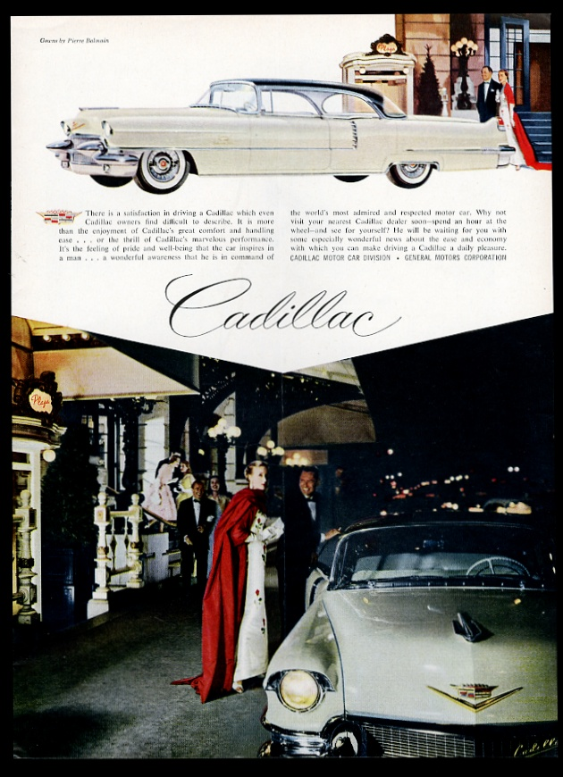 1956 Cadillac Sedan de Ville white car at The Plaza Hotel NYC vintage print advertisement