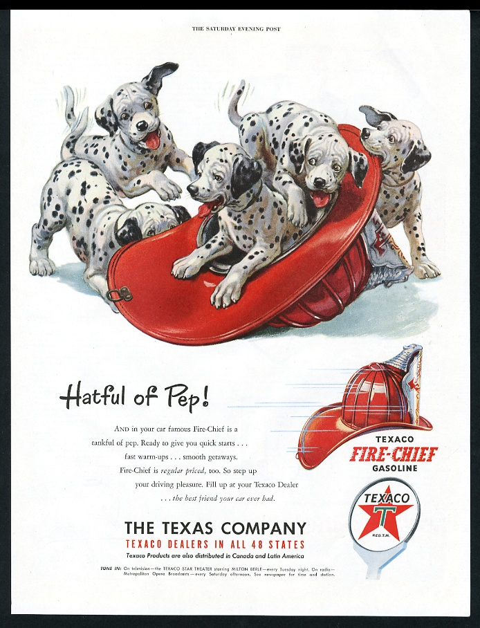 1951 Dalmatian Puppy Dogs Playing In Fire Helmet Texaco Gas Vintage
