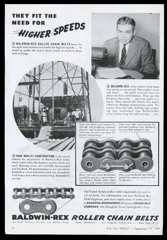 46a909391 1945 Baldwin-Duckworth oil well drilling chain photo Higher Speeds ...