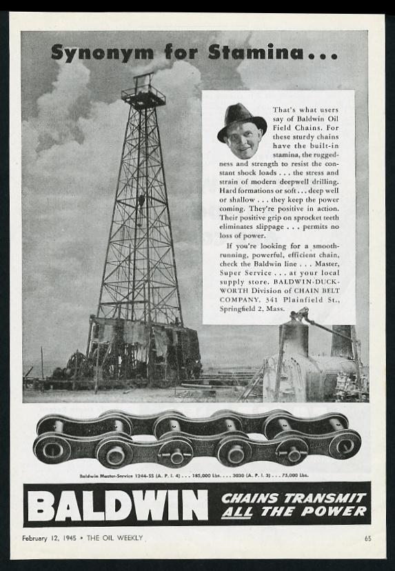 30abc13df 1945 Baldwin Duckworth oil well derrick drilling chain Stamina ...