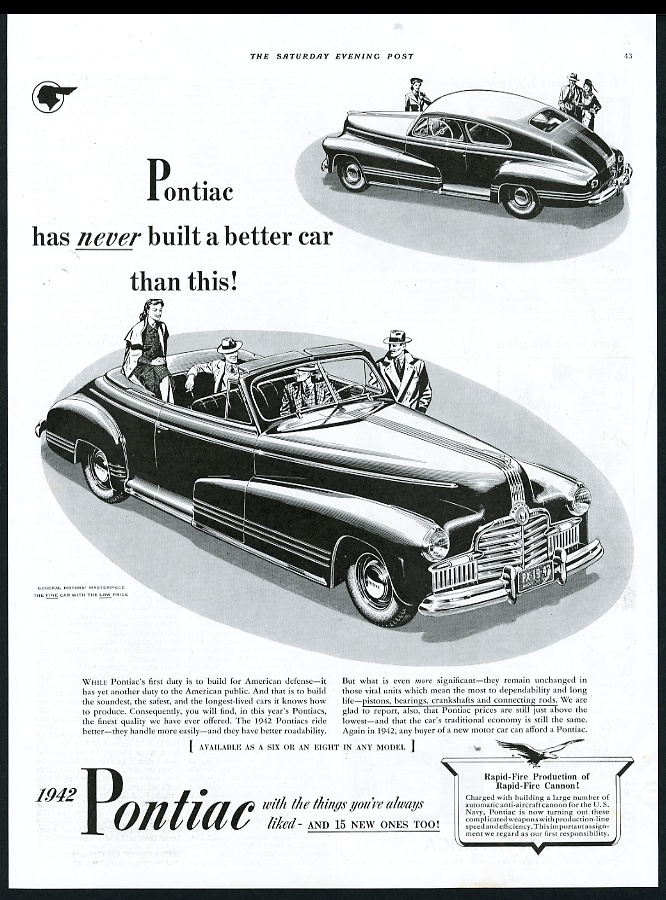 1942 pontiac convertible and coupe car illustrated vintage print ad 1948 Pontiac Streamliner 1942 pontiac convertible and coupe car illustrated vintage print advertisement