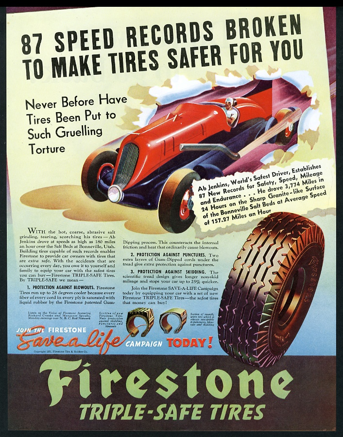 1937 Ab Jenkins Mormon Meteor speed car art Firestone tires vintage ...
