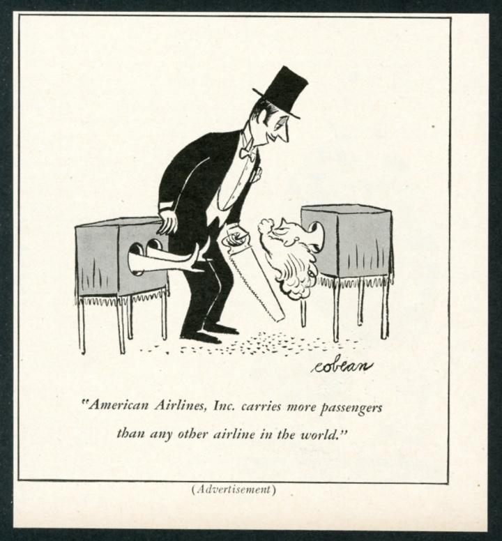 1951 american airlines magic magician sawing woman in half cartoon