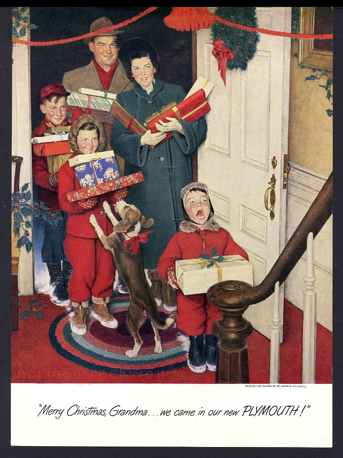 1950 Norman Rockwell Christmas family art Plymouth car vintage print ...