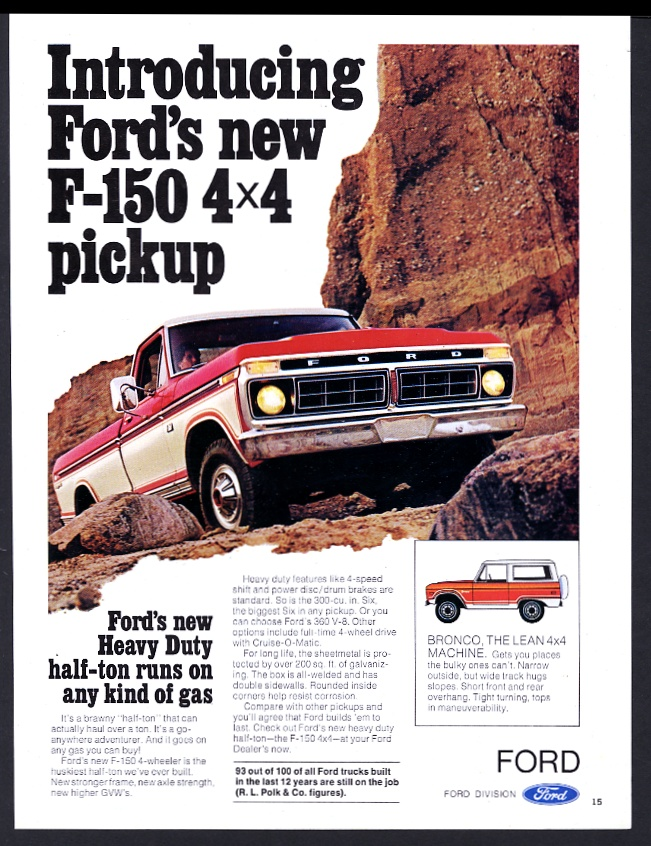 1976 Ford F-150 4x4 pickup truck and Bronco vintage print ad | eBay