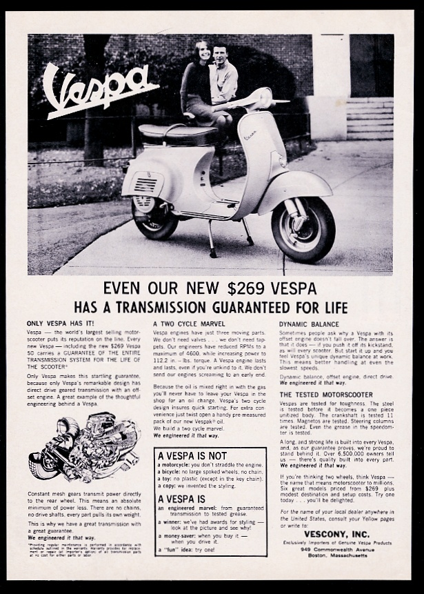 1964 Vespa scooter moped photo and transmission diagram vintage ...