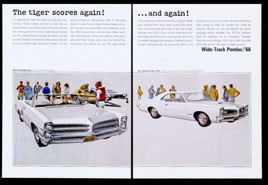 1966 Pontiac GTO 2+2 convertible white cars art vintage print ad   eBay