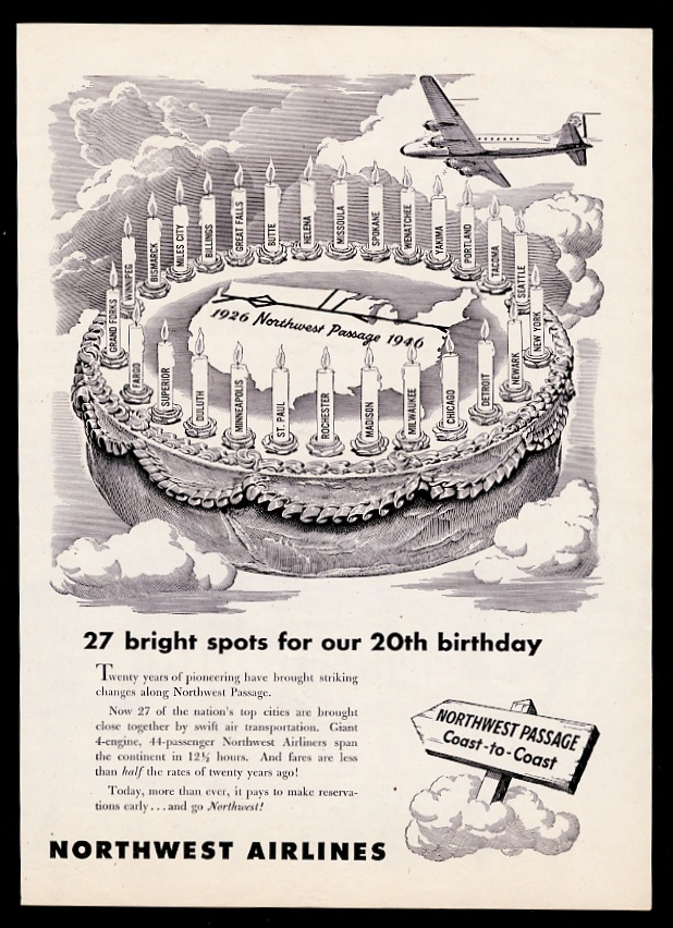 Details About 1946 Northwest Orient Airlines Plane Birthday Cake 27 Candles Vintage Print Ad