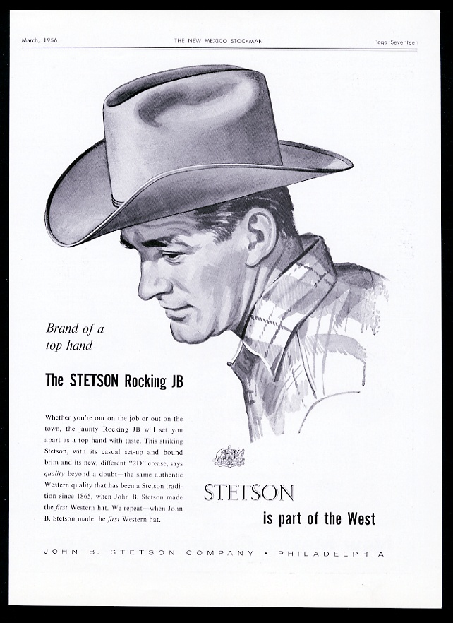 Details about 1956 Stetson Rocking JB cowboy hat illustrated Part Of The  West vintage print ad 809555921f0