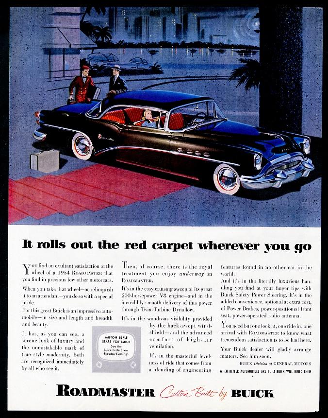 1954 Buick Roadmaster coupe black car illustrated vintage print ad ...