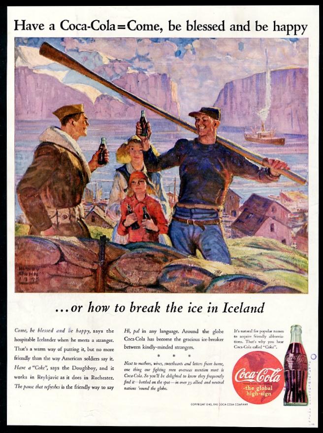 Coke Coca Cola Iceland Color Art Vintage Print Advertisement