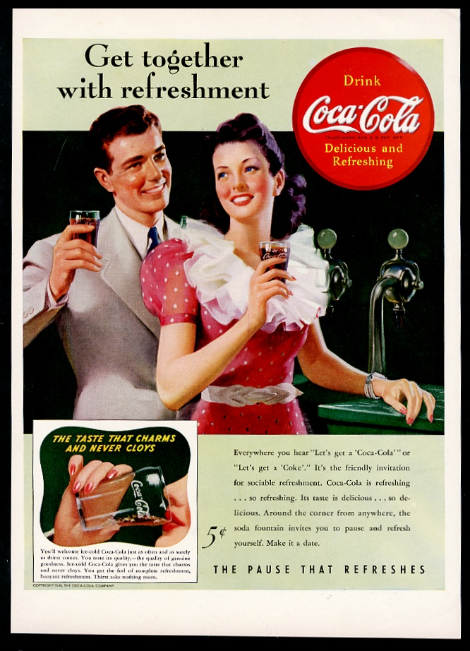Details about 1941 Coke couple at soda fountain Coca-Cola vintage print ad
