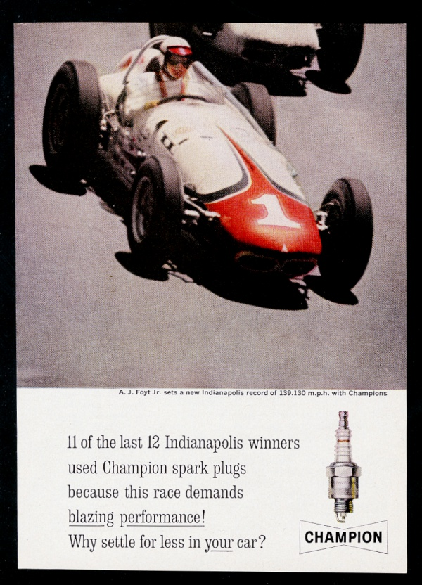 1961 A.J. Foyt Indy 500 race car photo Champion spark plugs vintage ...