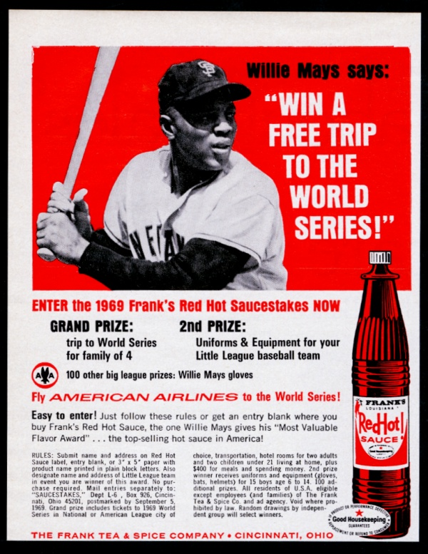 Details about 1969 Willie Mays photo Frank's Louisiana Hot Sauce vintage  print ad