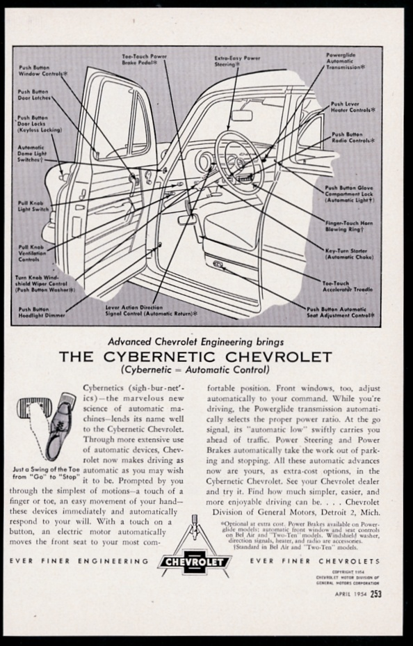 1954 chevrolet 'cybernetic' car diagram illustrated vintage print  advertisement