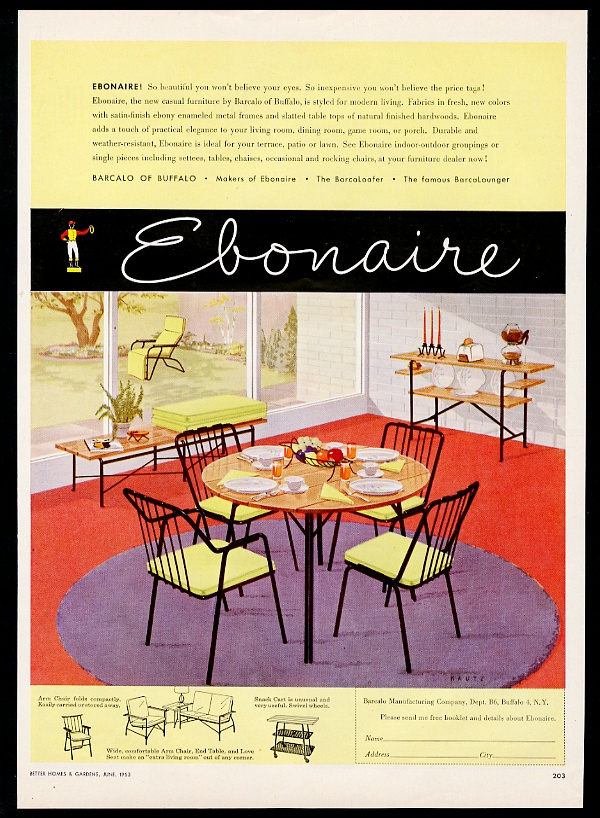 Super Details About 1953 Barcalo Ebonaire Modern Table Chairs Furniture Vintage Print Ad Frankydiablos Diy Chair Ideas Frankydiabloscom