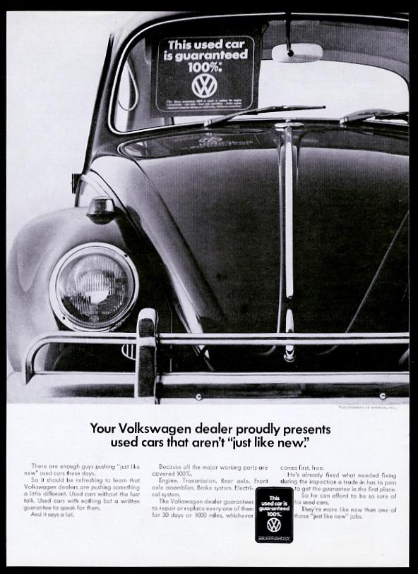 1968 VW Beetle classic used car photo Volkswagen vintage print ad | eBay