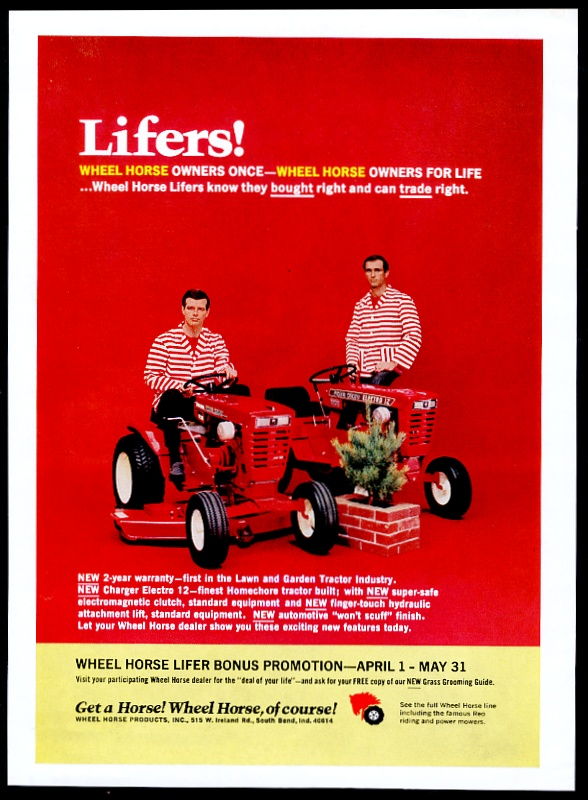 Details about 1968 Wheel Horse riding lawn mower graden tractor 2 model  photo vintage print ad
