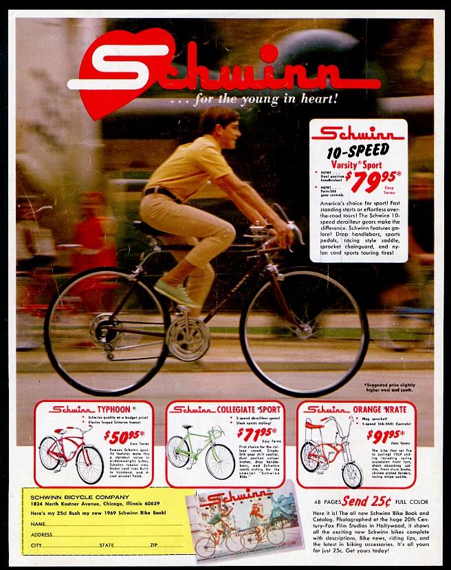3057a445643 Details about 1969 Schwinn Varsity Sport Orange Krate Collegiate Typhoon  bike photo print ad