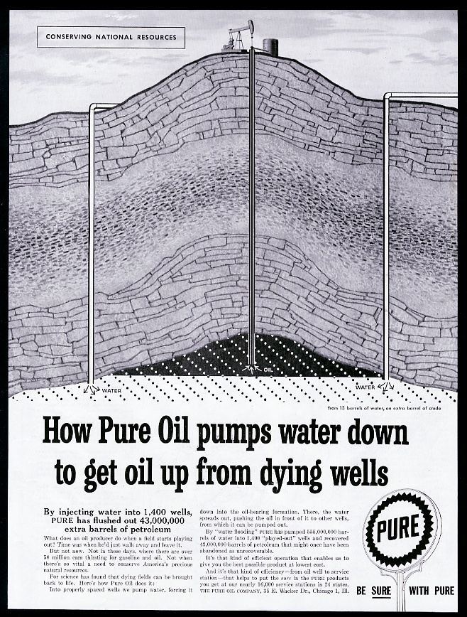 1958 Pure Oil Water Injection Well Diagram Vintage Print Ad Ebay