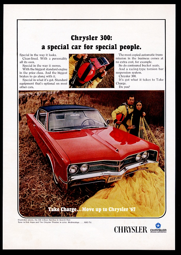1967 Chrysler 300 red car and skydiver photo vintage print ad | eBay
