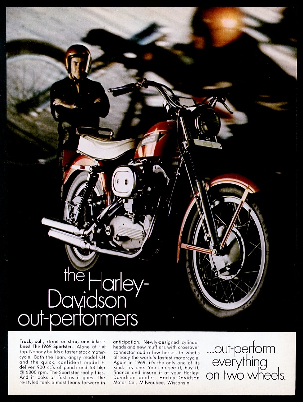 7ae7d571c0a6a2 1969 Harley Davidson Sportster motorcycle vintage print advertisement
