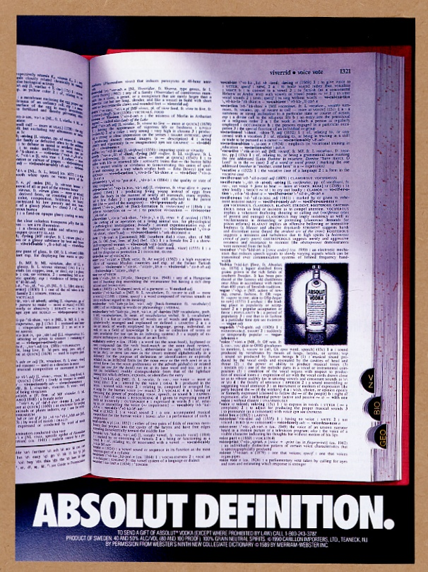 1990 Absolut Definition Vodka Bottle In Dictionary Photo Vintage