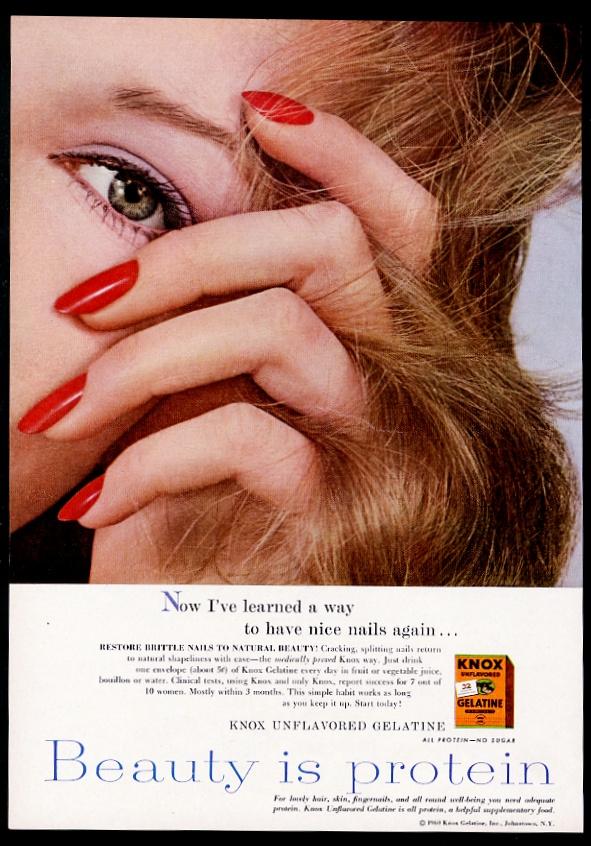 1960 Knox Gelatine woman with nice finger nails photo vintage print ...