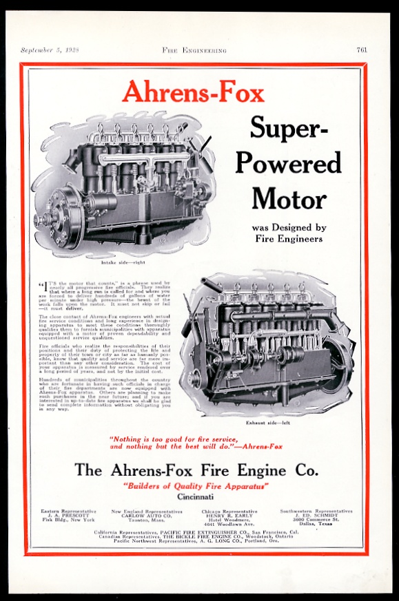 1928 ahrens fox fire truck engine diagram vintage trade print ad ebay rh ebay com