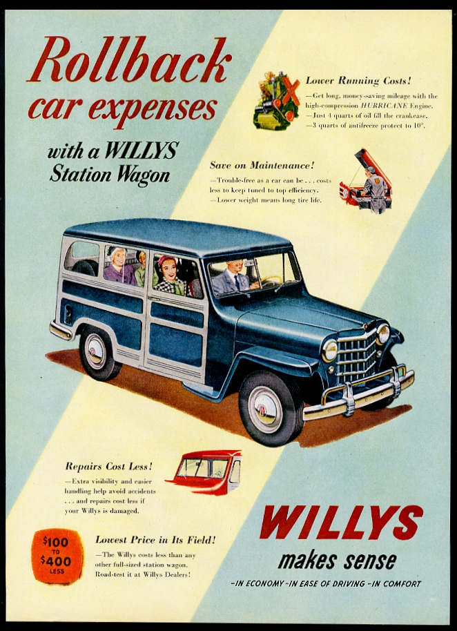 Details about 1951 Willys Jeep Station Wagon blue SUV art vintage print ad