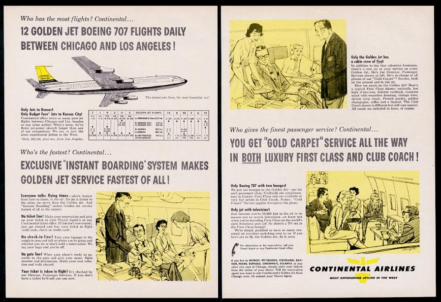 Calendario 1960.1960 Continental Airlines Avion 707 Azafata Steward Art