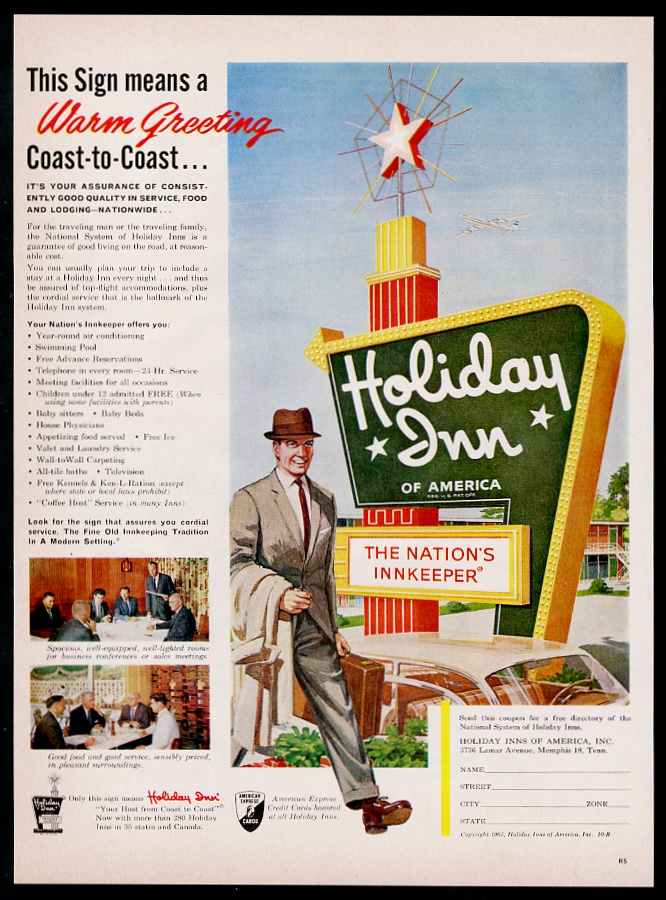 1962 Holiday Inn Motel Clasico Color Verde Signo Arte Anuncio Impreso De Coleccion Ebay
