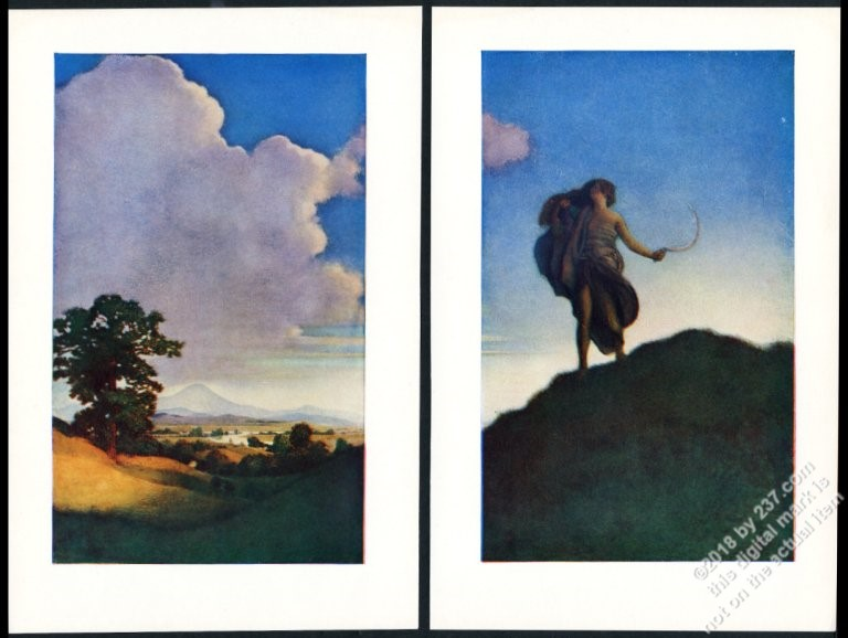 1904 Maxfield Parrish Print From Keats To Autumn Vintage 2 Print Set Nm Merchandise & Memorabilia Advertising