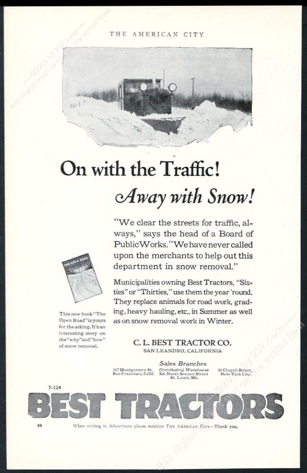 1924 Best tractor snowplow snow plow photo vintage trade print ad 2
