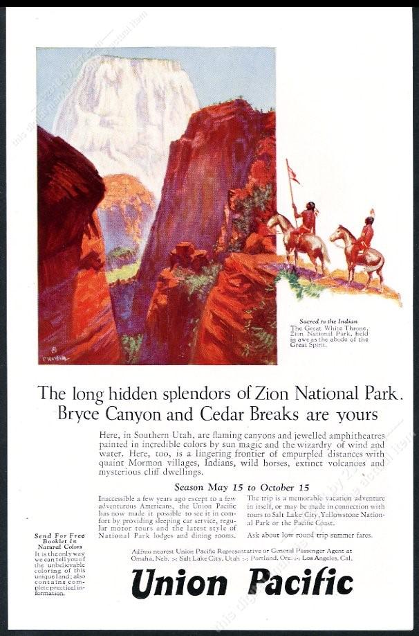 Details about 1925 Zion National Park Utah color art Union Pacific Railroad  vintage print ad