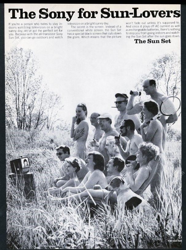 Details about 1967 nudist colony people photo Sony TV set vintage print ad
