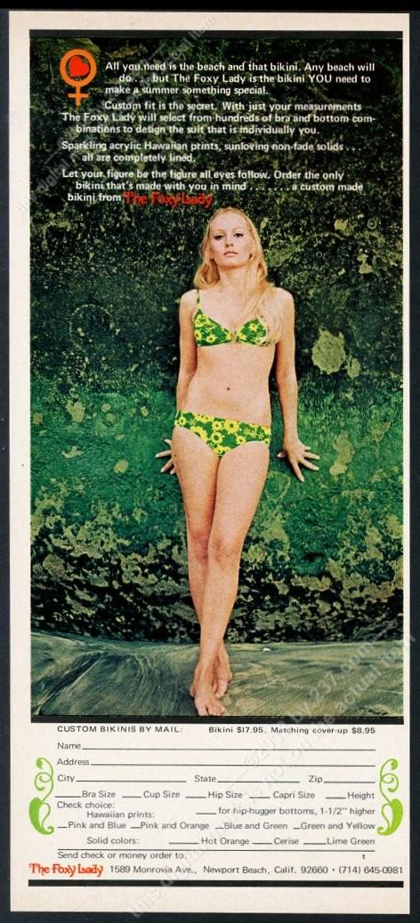 d22de212e5f62 1970 Foxy Lady bikini swimsuit woman color photo vintage print ad