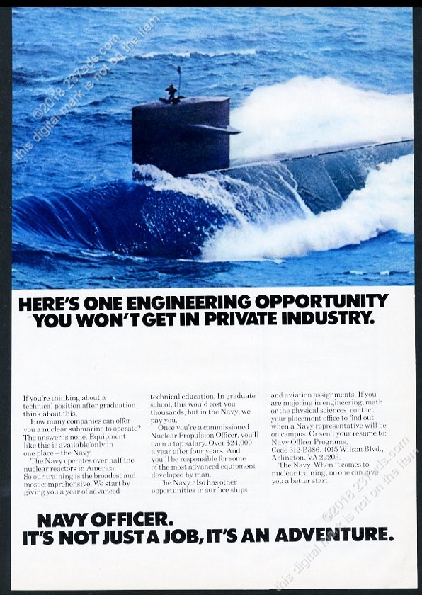 Details about 1977 atomic nuclear submarine photo US Navy Officer  recruitment vintage print ad