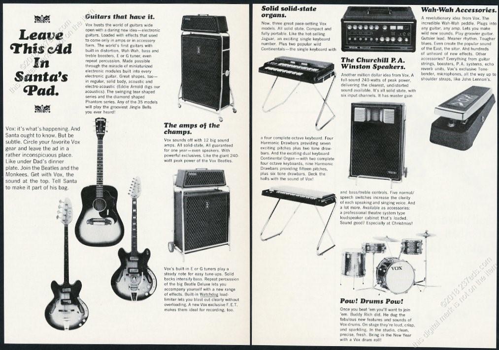 Details about 1967 Vox guitar amp Jaguar organ Wah-Wah pedal drums PA photo  vintage print ad