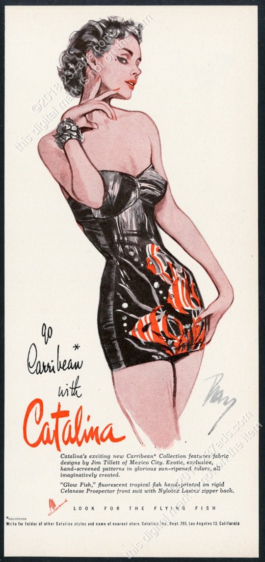 328ee31eb7 1951 pinup pin-up woman art Catalina swimsuit vintage print ad | eBay