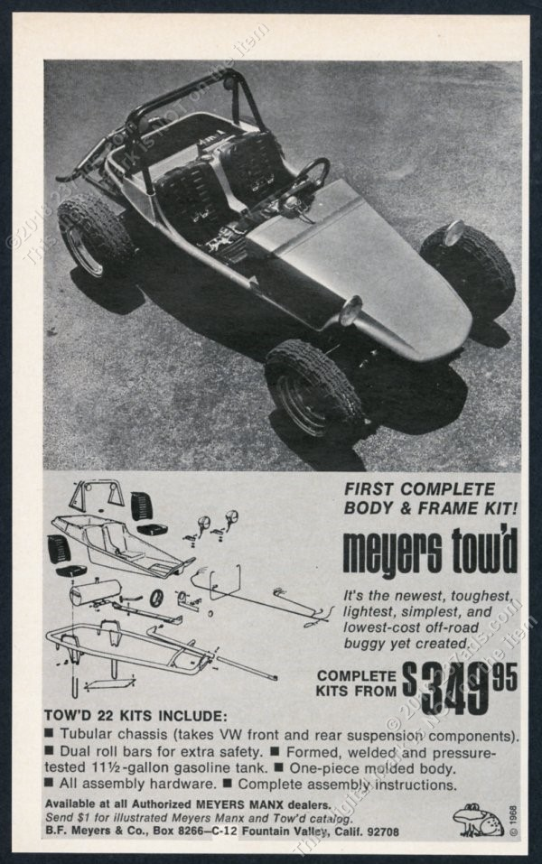 Details about 1968 Meyers Tow'd dune buggy photo vintage print ad