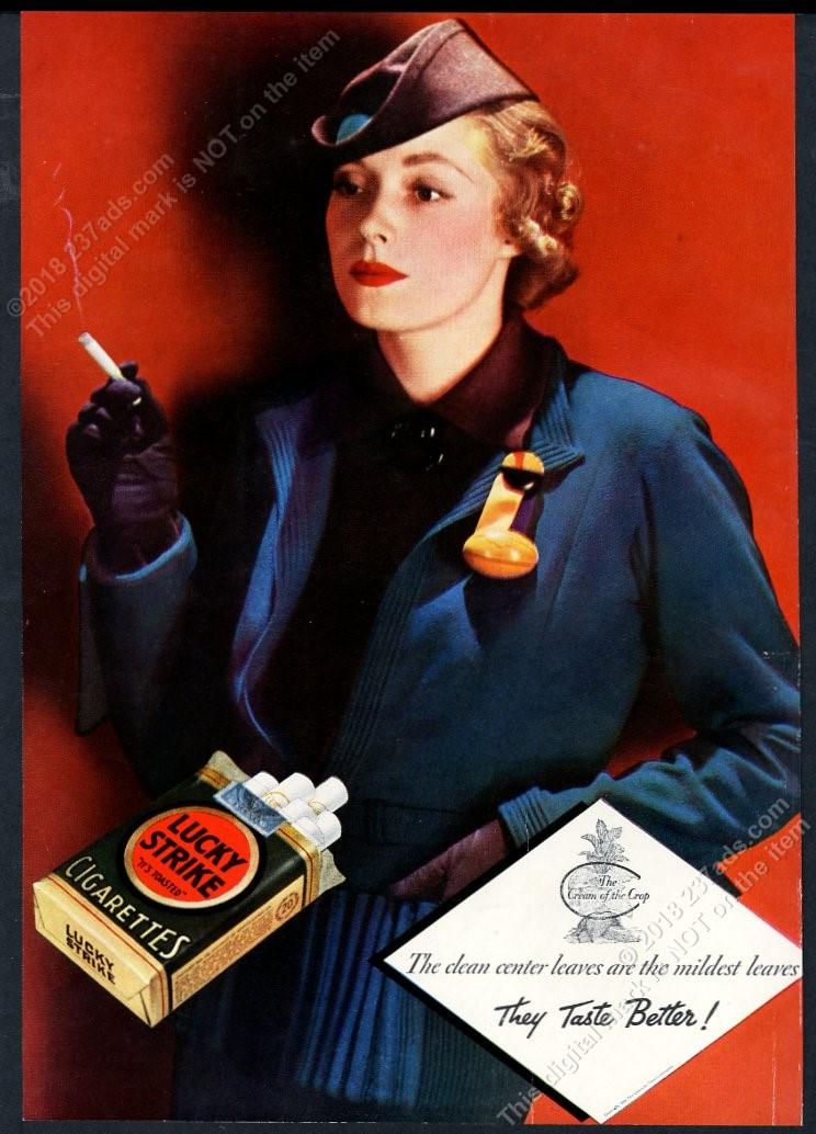 Detalles acerca de 1934 Paquete De Lucky Strike Cigarrillos Verde Fumar  Mujer Foto anuncio impreso De Colección- mostrar título original