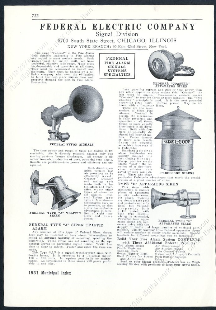 1931 federal electric warning siren fire truck etc 5 models photo trade print ad