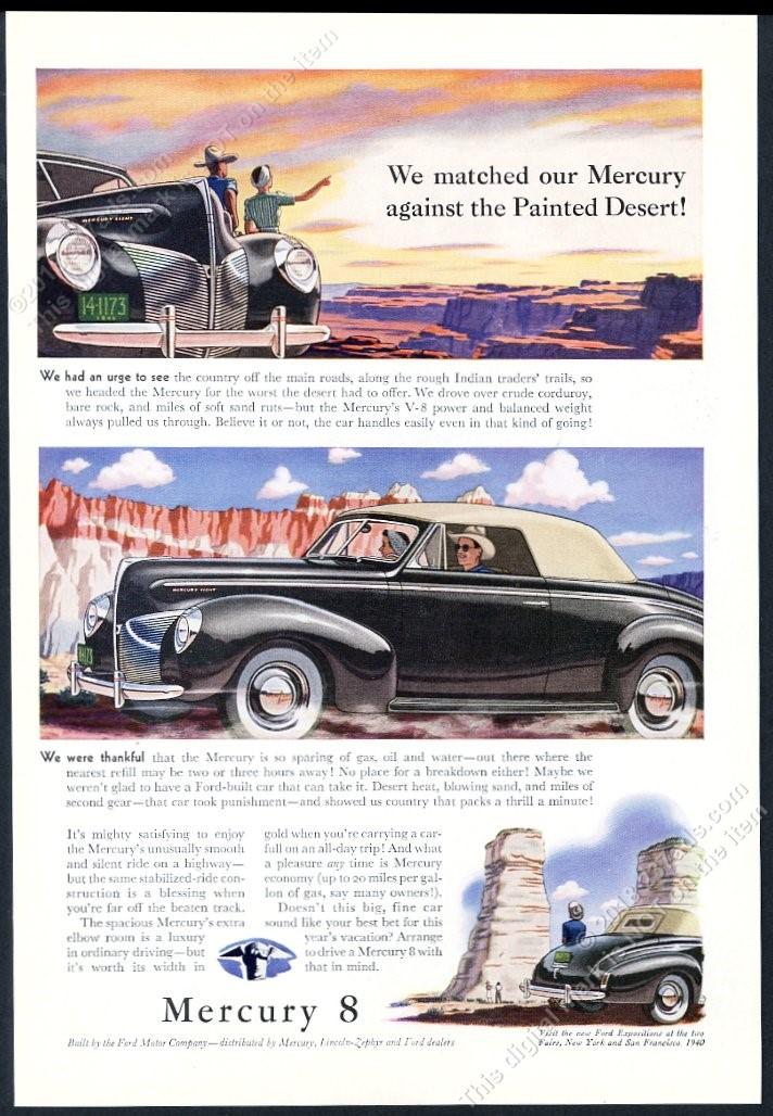 Details about 1940 Mercury 8 convertible car Painted Desert Arizona art  vintage print ad